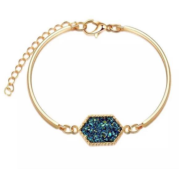 Jewelry - Turquoise Druzy Bracelet - Gold